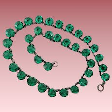 Vintage Open-Back Green Crystal and Sterling Silver Necklace