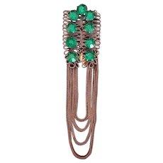 Vintage Rhinestone and Chain Dress Clip