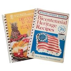 Set of Two Vintage Beta Sigma Phi International Cookbooks