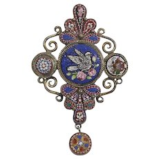 Antique Micro-Mosaic Sterling Silver Pendant Brooch (Possible Mourning Jewelry)