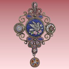 Antique Micro-Mosaic Pendant Brooch (Possible Mourning Jewelry)