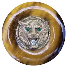 Antique German Silver and Tiger's Eye Brooch