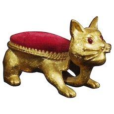 Vintage Signed Florenza Trembler Cat Pin Cushion