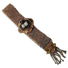 Antique Gold Fill, Cameo Mesh Slide Tassel Bracelet