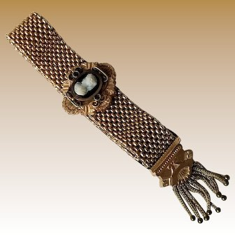 Antique Gold Fill, Cameo Mesh Slide Tassel Bracelet