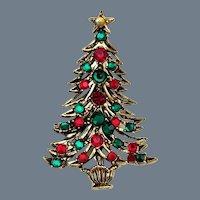 Vintage Signed Hollycraft Christmas Tree Brooch