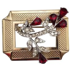 Vintage Signed Coro Gold Tone Picture Frame Brooch