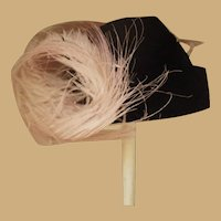 Vintage Hand Made Black Velvet Doll Hat with Pink Ostrich Feather