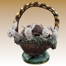 "Rare Miniature ""Handwork in Austria"" Porcelain Rabbit Figurine"