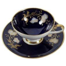 Vintage Hutschenreuther Cobalt Blue Demitasse Cup and Saucer Set