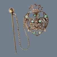 Rare Vintage Art Nouveau Era 12K Gold Luckenbooth Brooch