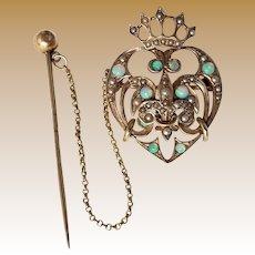 Vintage Art Nouveau Era 12K Gold Luckenbooth Brooch