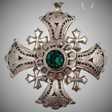 Spectacular Vintage 950 Silver Crusader Cross Necklace