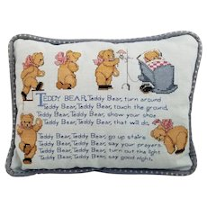 Vintage Cross-Stitch Teddy Bear Poem Pillow