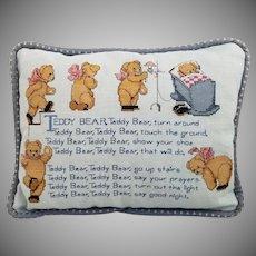 Vintage Cross-Stitch Teddy Bear Poem Pillow