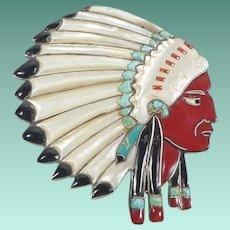 Rare Vintage Zuni Native American Bolo Tie Slide
