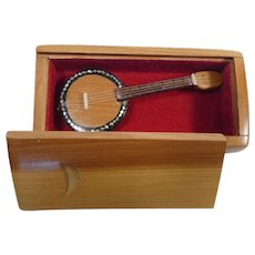 Vintage Hand Made Miniature Banjo in Box