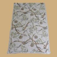 Vintage Long Rectangular Equestrian Silk Scarf