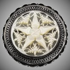 Vintage Signed Sterling Silver Jerusalem Star of Bethlehem Brooch