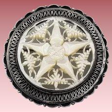 Vintage Signed Sterling Silver Jerusalem Star of Bethlehem Brooch