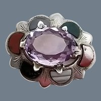 Antique Sterling Silver, Amethyst and Agate Scottish Brooch