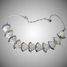 Vintage Signed Corocraft Silvertone Necklace