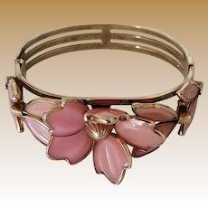 RESERVED for Julia (Layaway) - Vintage Signed Trifari Pink Poured Glass Cuff Bracelet