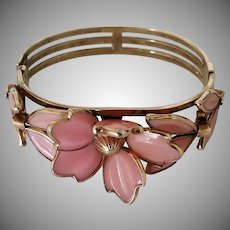Vintage Signed Trifari Pink Poured Glass Cuff Bracelet