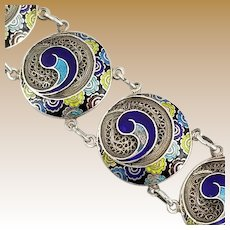 Vintage Signed Topazio Portugal Sterling Silver and Cloisonne Bracelet