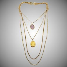 Vintage Signed Goldette Multi-Chain Pendant Necklace