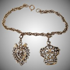 Vintage Signed Trifari Heart and Crown Charm Bracelet