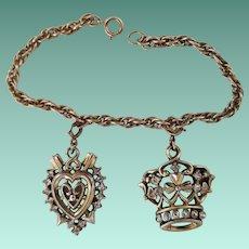 Vintage Signed Trifari Heart and Crown Charm Bracelet