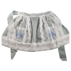 Vintage Sheer White Apron with Lace and Machine Embroidery