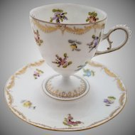 Rare Antique Charles Ahrenfeldt Saxonia Porcelain Cup and Saucer