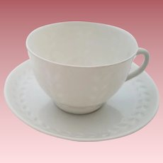 Rare Vintage White Porcelain Porsgrunn Cup and Saucer Set