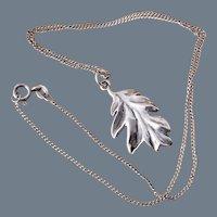 Vintage Signed Sterling Silver Leaf Pendant Necklace