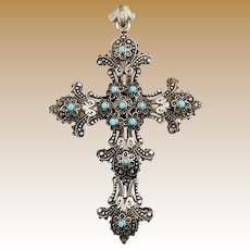 Spectacular Antique Two-Sided Cross Pendant