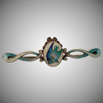 Rare Well-Marked Antique Sterling Silver and Enamel Bar Pin