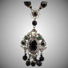 Vintage Czech Glass Bead Sautoir Necklace