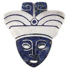 Vintage Signed Margot de Taxco Sterling Silver Mask Pendant/Brooch