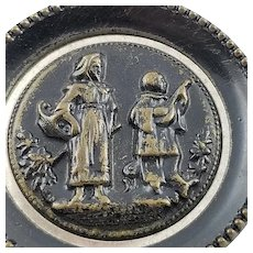 Antique Civil War Era Metal Picture Button