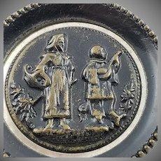 Antique Civil War Era Metal Picture Button