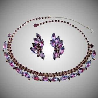 Vintage Juliana by D & E Pink-Purple-Blue Rhinestone Demi Parure
