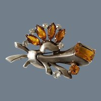 Vintage Signed Sterling Silver and Amber Torch Brooch