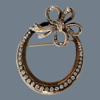 Vintage Signed Sterling Open Circle and Bow Brooch