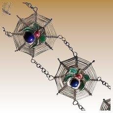 Antique Silver and Enamel Spider Web Bracelet