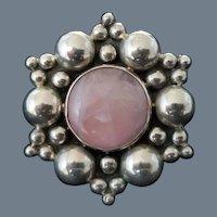 Vintage Signed Sterling Silver and Rose Quartz Brooch or Pendant