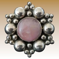 Vintage Signed Sterling Silver and Rose Quartz Brooch or Pendant