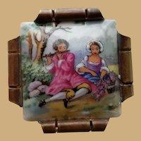 Vintage Signed Limoges Porcelain Picture Brooch