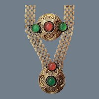 Vintage Signed Original by Robert Goldtone and Glass Necklace